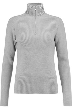 MAJE Studded wool-blend sweater