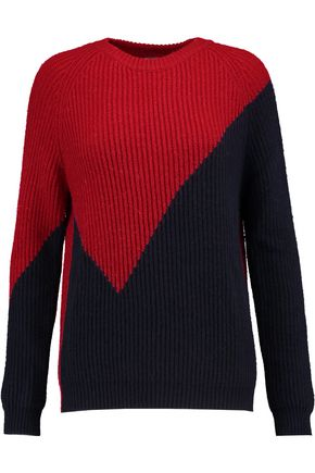 MAJE Two-tone ribbed-knit sweater