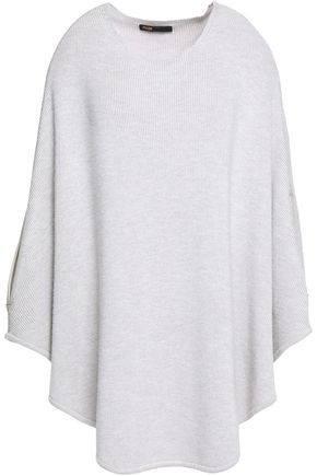 MAJE Leather-trimmed wool-blend poncho