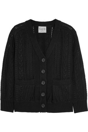 SEA Paneled crocheted cotton and cable-knit cardigan