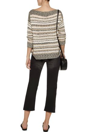 SPLENDID Striped knitted cotton-blend sweater