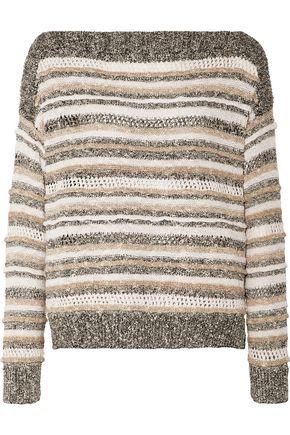 SPLENDID Striped knitted cotton-blend sweater