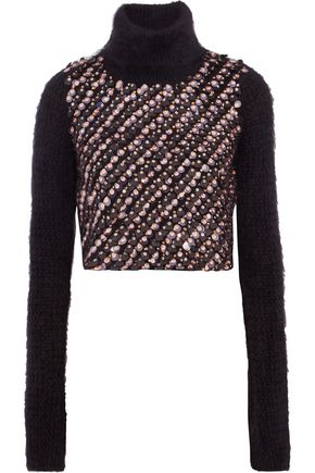 ROBERTO CAVALLI Cropped embellished angora-blend turtleneck sweater