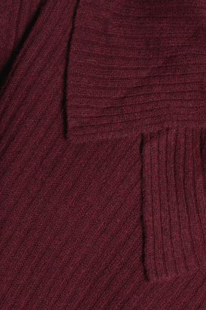 GANNI Draped ribbed merino wool-blend sweater