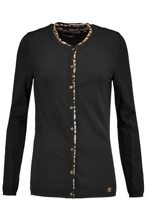 ROBERTO CAVALLI Maglia leopard-print stretch silk-trimmed knitted cardigan and tank set