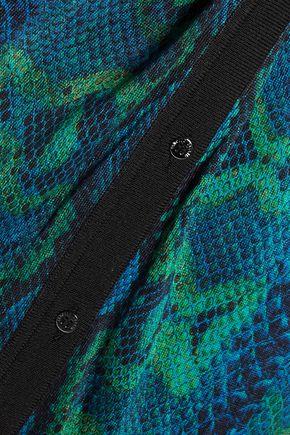ROBERTO CAVALLI Belted snake-print silk cardigan