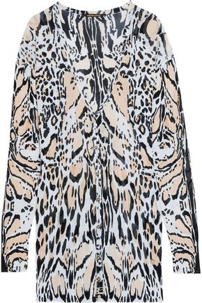 ROBERTO CAVALLI Printed stretch-knit cardigan