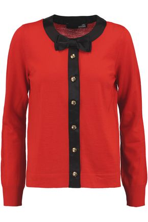 LOVE MOSCHINO Satin-trimmed wool cardigan