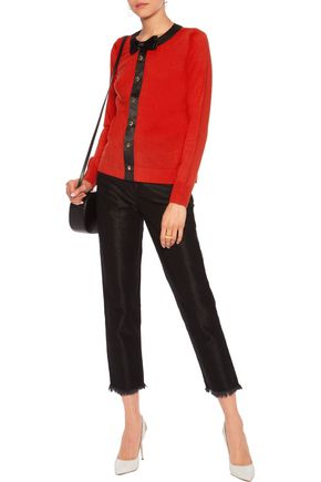 LOVE MOSCHINO Satin-trimmed wool cardigan