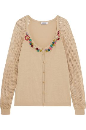 BOUTIQUE MOSCHINO Beaded ribbed and open-knit cotton cardigan