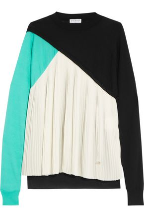 VIONNET Pleated silk-paneled wool, cashmere and silk-blend sweater