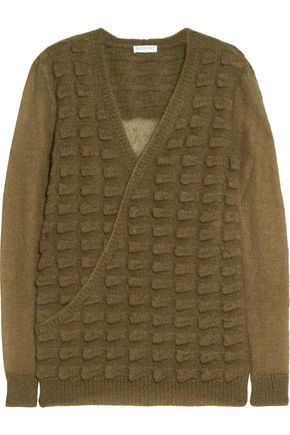 VIONNET Wrap-effect textured mohair-blend sweater