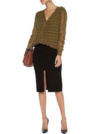 ... VIONNET Wrap-effect textured mohair-blend sweater ...