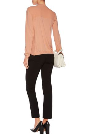 VIONNET Layered silk-paneled wool, cashmere and silk-blend sweater