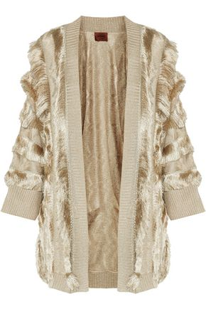MISSONI Metallic fringe-trimmed crochet-knit cardigan