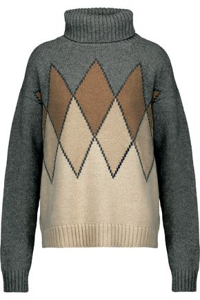 PRADA Intarsia-knit camel hair turtleneck sweater