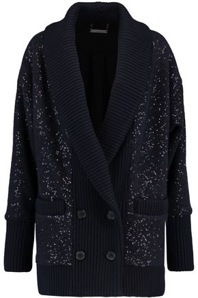 DIANE VON FURSTENBERG Zayde double-breasted sequined felt cardigan