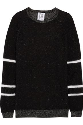 ZOE KARSSEN Paneled metallic knitted sweater