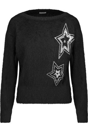 SAINT LAURENT Embellished mohair-blend sweater