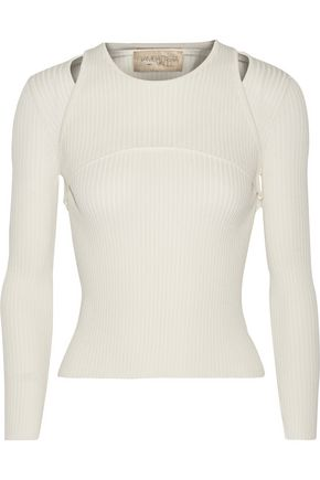 GIAMBATTISTA VALLI Layered ribbed-knit cotton-blend sweater
