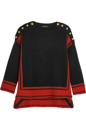ALEXANDER MCQUEEN Button-embellished two-tone cashmere sweater