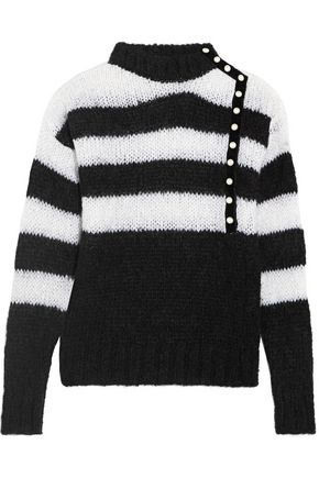 PHILOSOPHY di LORENZO SERAFINI Faux pearl-embellished striped mohair-blend sweater