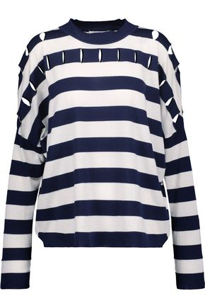 JIL SANDER Cutout striped silk, wool and cotton-blend sweater