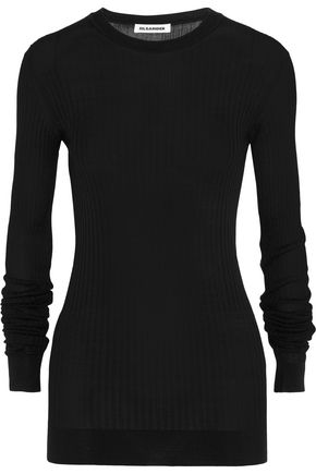 JIL SANDER Ribbed silk sweater