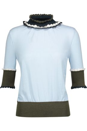 ROKSANDA Ifield color-block ruffled wool-jersey top