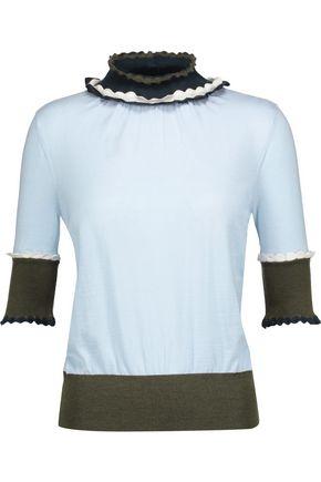 ROKSANDA Ifield color-block ruffled wool-jersey top