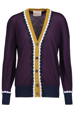 ROKSANDA Heddon color-block ruffled wool cardigan
