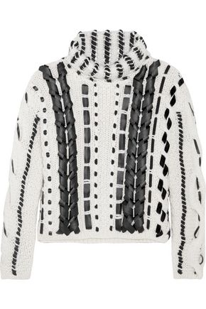 ALTUZARRA Caravan leather-trimmed cable-knit wool-blend sweater