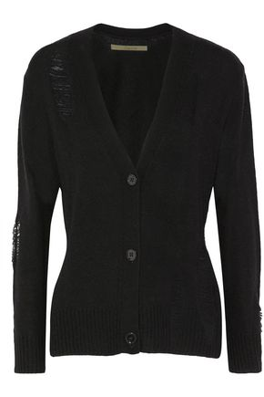 ENZA COSTA Distressed wool and cashmere-blend cardigan