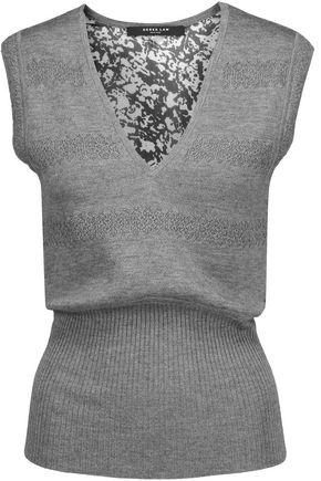 DEREK LAM Printed silk gauze-paneled cashmere and silk-blend sweater