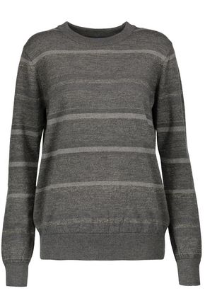 M.I.H JEANS Falls striped glittered merino wool-blend sweater