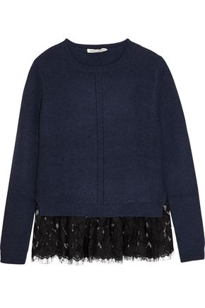AUTUMN CASHMERE Lace-trimmed cashmere sweater