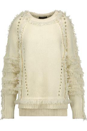 BELSTAFF Karli pointelle-trimmed fringed wool, silk and cashmere-blend sweater