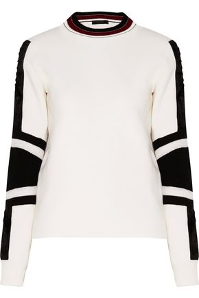 BELSTAFF Kaydence faux fur-trimmed striped wool sweater