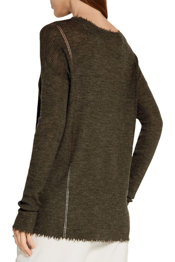Frayed pointelle-trimmed wool sweater | HELMUT LANG | Sale up to 70% off |  THE OUTNET