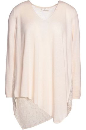 JOIE Tambrel corded lace-paneled knitted sweater
