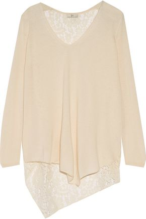 JOIE Tambrel asymmetric corded lace-paneled stretch-knit top
