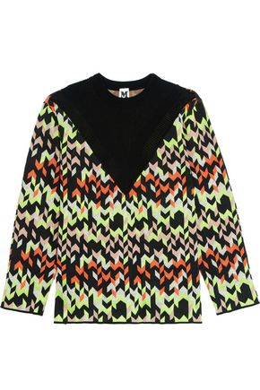 M MISSONI Paneled jacquard-knit sweater