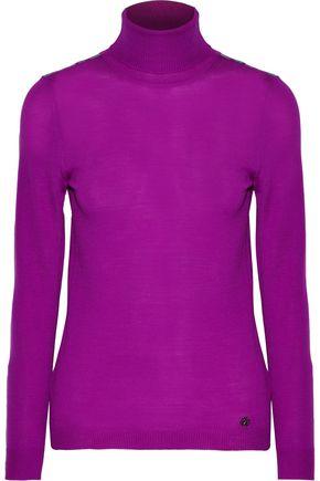 ROBERTO CAVALLI Silk-trimmed wool turtleneck sweater