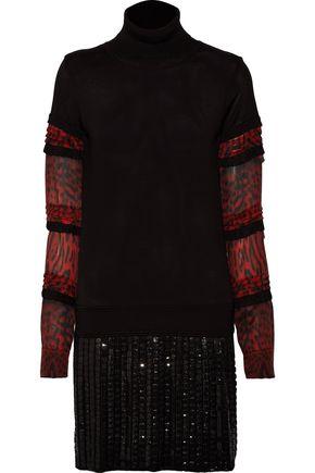 ROBERTO CAVALLI Embellished printed silk-chiffon and stretch-wool mini dress