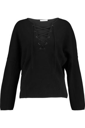 VINCE. Lace-up merino wool and cashmere-blend top