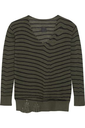 RTA Camille distressed striped cashmere sweater