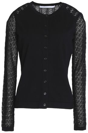 DIANE VON FURSTENBERG Crotchet knit-paneled cotton-blend cardigan