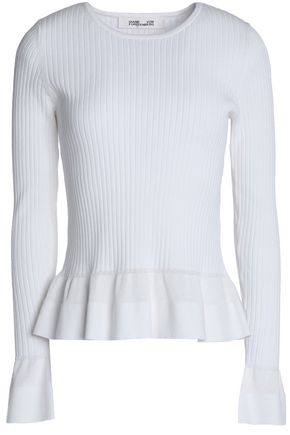 DIANE VON FURSTENBERG Ribbed-knit peplum sweater