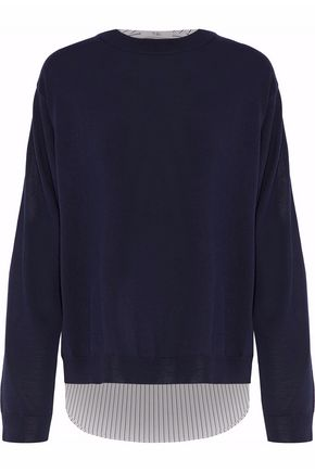 TIBI Cotton-blend and wool paneled top