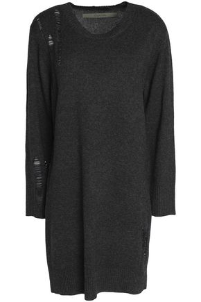 ENZA COSTA Distressed mélange wool and cashmere-blend sweater